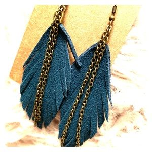 Teal leather suede feather earrings with chain